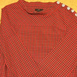 JCrew Red and Black Plaid Shirt